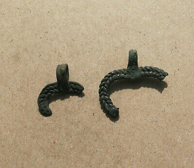 "Lot of 2 broken Ancient Viking Bronze AMULET - PENDANT "" MOON "" 9-11th CENTURY"