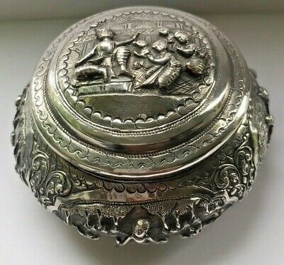 Antique Burmese 95% Pure Silver Hand Made Repousse Lidded Bowl  People & Animals