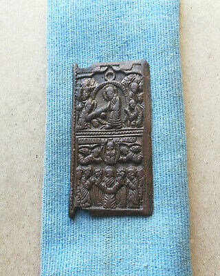 Medieval Bronze Icon With Saint - Very Rare Historic Religious Artifact Stunning