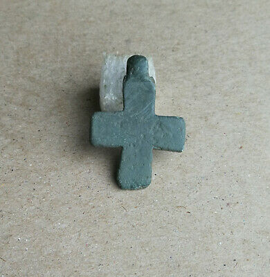 Ancient Byzantine Bronze Little Christian Cross