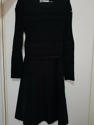Zara Black Compact Knit Dress Womens Size M