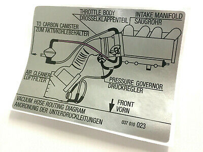 MK2 Golf GTI 8v Hose Routing Diagram Sticker Decal 037010023, Vw