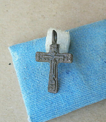 "ANTIQUE 18th CENTURY ORTHODOX ""OLD BELIEVERS"" BRONZE CROSS WITH PRAYER"