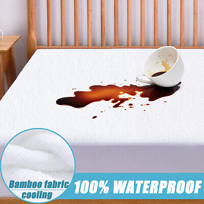 Cooling Matress Protector 100% Waterproof Mattress Pad Cover Bamboo Cotton Terry