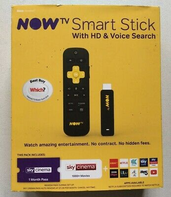Now TV Smart Stick HD & Voice Search With 1 month Sky Cinema Pass - BNIB