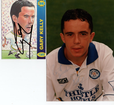 Leeds United - Gary Kelly - 2 Sigs -  Signed Collectors Card Colour 6X4 Photo