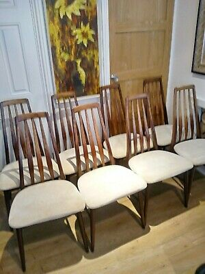 Rosewood Eva Dining Chairs By Niels Koefoed for Hornslet, 1960's Set of 8.