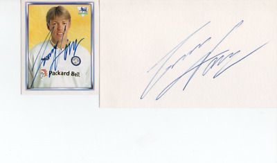 Leeds United -Gunnar Halle - 2 Sigs -  Signed Collectors Card And White Card