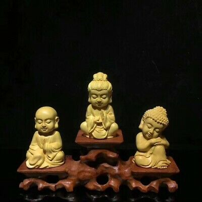 1set 4pcs China statue boxwood carved guanyin Buddha+ Rosewood base黄杨木婆娑三圣