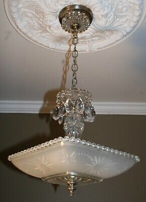 Antique square frosted Art Deco glass shade ceiling light fixture chandelier