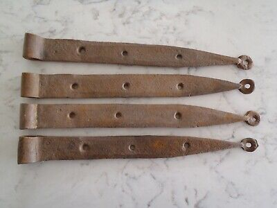 Vintage Blacksmith Rustic Wrought Iron Gate/ Barn Door Strap Hinges (4)