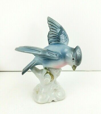 Erphila Germany Blue Jay Hand Colored Porcelain Bird Figurine Beautiful and Rare