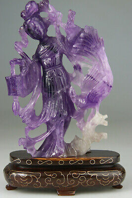 ANTIQUE CHINESE FIGURE KWANYIN LADY STATUE AMETHYST CARVED STAND - Qing 19TH