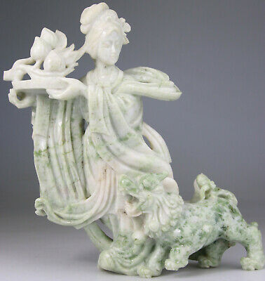 ANTIQUE HUGE CHINESE KWANYIN LADY STATUE FIGURE JADE SERPENTINE CARVED Qing 19TH