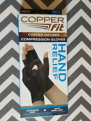 Copper Fit Compression Gloves Copper Infused Hand Relief 1 Pair L/Xl Unisex