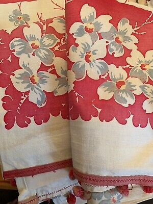 Vintage 1950s Mid Century Cafe Curtains HAWAIIAN PRINT Camper Trailer Cottage