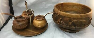 "Carved Wood Teak Pedestal Dia 9"" Bowl With 3 Condiment Bowls Philippine 6"" Tall"