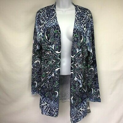JM Collection Womens Open Front Cardigan Sweater Blue Paisley Long Sleeve NWT PL
