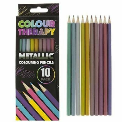 10 Metallic Colouring Pencils Adults Childrens Kids Quality Artist Sketching Set