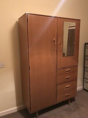 Vintage mid century STAG 1960s wardrobe & shelves