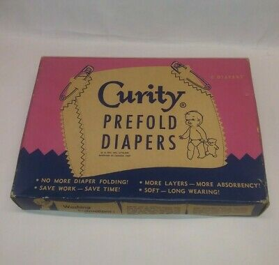 Vintage 1950's Kendall Curity Cloth Prefold Diapers New in Box NOS - 6 Total