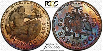 1973-FM Barbados Ten Dollars PCGS PR Genuine (Cleaned) UNC Detail Toned Coin