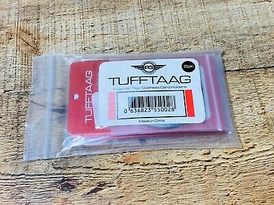 TUFFTAAG Metal Luggage Tags Business Card Holder Travel ID Bag Tag Red 2 Pack
