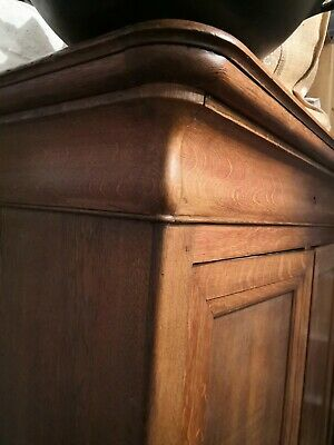 French antique Victorian oak  linen press cupboard cabinet armoire C1860