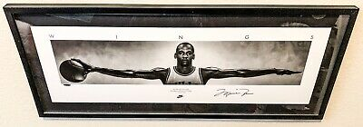 "🔥VERY RARE MICHAEL JORDAN Signed Wings 41""x17"" NIKE Framed Poster UDA LE /500🔥"