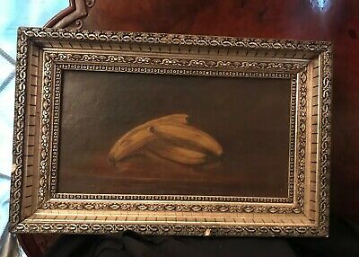 Antique Still Life Bananas Oil on Canvas Painting Late 1800s Victorian Edwardian