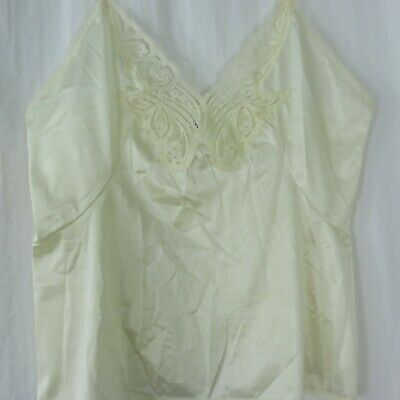 Vintage Body Lites Size 36 Beige Nylon Lace Camisole New Old Stock Made in USA