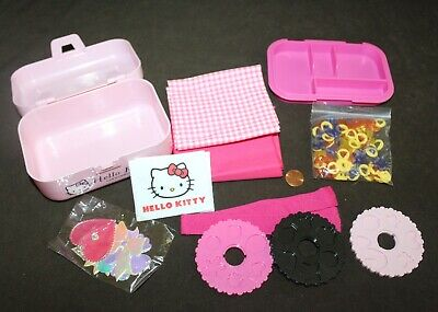 2010 Sanrio HELLO KITTY Pink Sewing Box Kit w/ Fabric, Patches & Notions