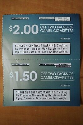 2 Coupons for Camel Cigarettes Packs Expires April 30, 2020