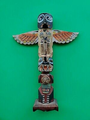 VINTAGE EARLY 1900'S  CARVED WOOD PAINTED TOTEM POLE,  Old antique