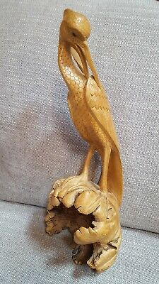 """Hand Carved Wood Egrit 13.5"""" Tall"""