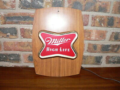 Vintage Miller High Life Beer Lighted Wall Sign Plastic Advertising~See Details