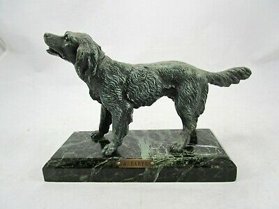 Antique Alfred Barye Green Bronze Irish Setter Hunting Dog Figurine Statue