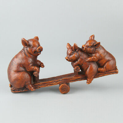 Chinese Exquisite Handmade pig Carving boxwood statue
