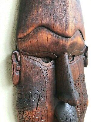 African Tribal Hand Carved Wooden Face Mask Wall Ceremonial Cultural Art