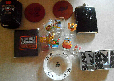 Bar Collection Accessories - Shotties Ashtray Coasters Hip Flask Stubby Coolers