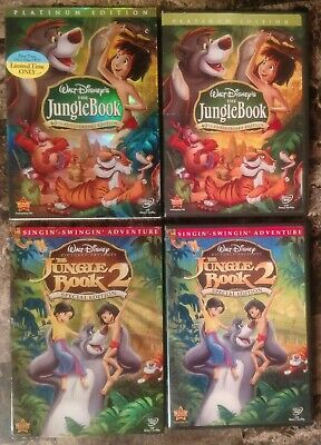 Jungle Book 1 & 2 DVD Lot Complete Set w Slipcovers 40th Anniversary Special