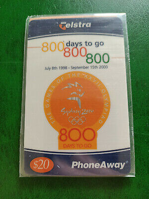Mint & Sealed $20 Sydney 2000 Olympics 800 Days to Go PhoneAway Card