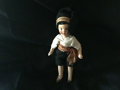 Antique full Bisque Doll house doll made in Germany ca 1920s 10 cm in ht
