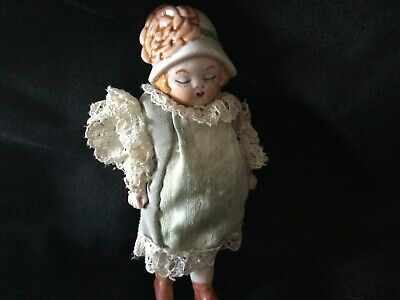 Antique Doll House full Bisque Doll Made in Germany  ca 1800s   12 cm in ht