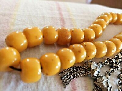 Old Amber Faturan Mastic Tesbih Beads Hand Made Silver Tassel Worry Prayer Bead