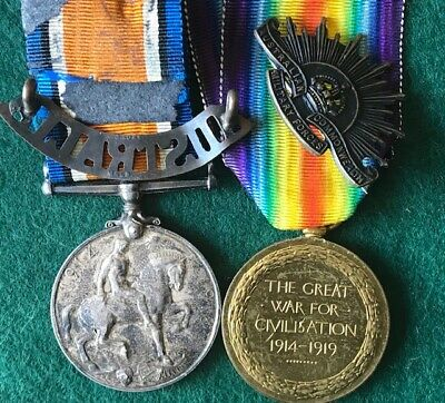 WW1 pair to 3755 A/Sgt E. Frost 32nd Bn AIF - With two badges