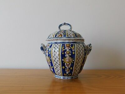 c.19th - Antique French France Faience Ceramic Lidded Pot Jar