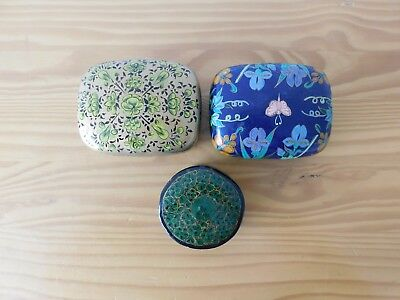 c.20th - Vintage Chinese Lacquered Wooden Box - set of 3