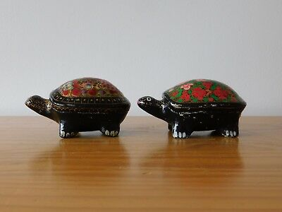 c.20th - Vintage Chinese Lacquered Wooden Turtle Box - set of 2