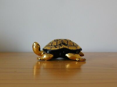 c.20th - Vintage Chinese Lacquered Wooden Gold Colour Turtle Box